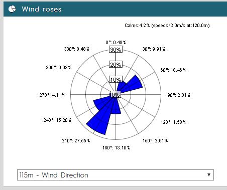 Rosace des vents du mois de janvier 2020 - Projet éolien du Pays Fléchois