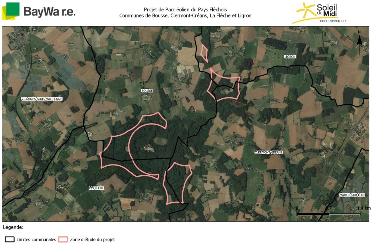 Pays Fléchois - Zone d'étude du projet